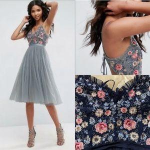 Needle and thread whisper midi dress embroidery